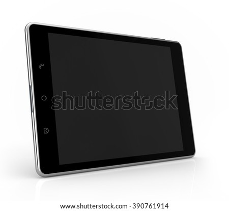 tablet side view mockup isolated white background with clipping path - stock photo