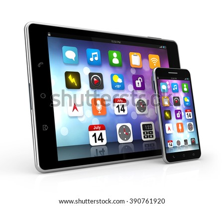 tablet smartphone device isolated white background with clipping path - stock photo