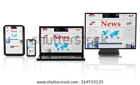 Tablet, smartphone, laptop and monitor with News website on screen,isolated on white. - stock photo