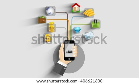 tablet tags phone networking messages info graphic - stock photo