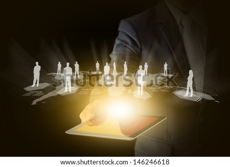 Tablet technology business concept, Creative network information process diagram - stock photo