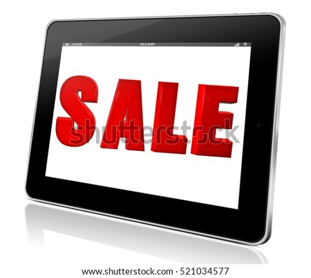 tablet touch computer pad gadget with the word sale