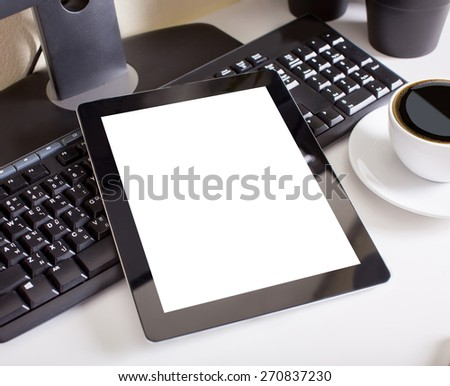 tablet touch pad computer gadget is in the office - stock photo
