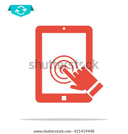 tablet touch screen icon - stock photo