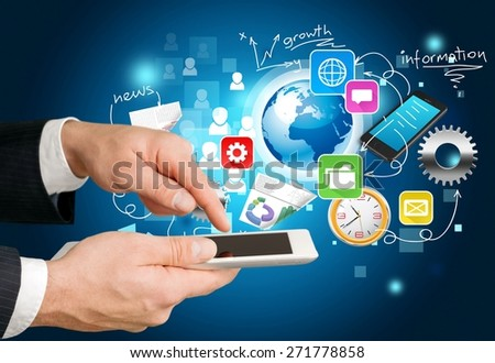 Tablet, white, touch. - stock photo