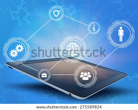 Tablet with a black screen and buttons located on top. - stock photo