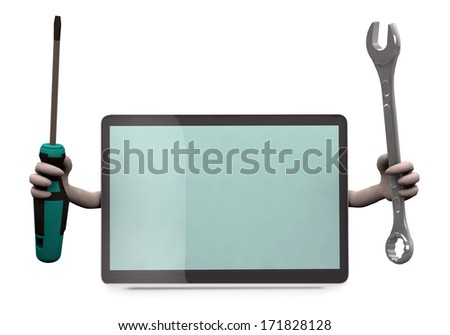 tablet with arms and tools on hand, 3d illustration - stock photo