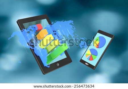 Tablet with blue holograph world map and bar graphs and smartphone with circle diagrams - stock photo