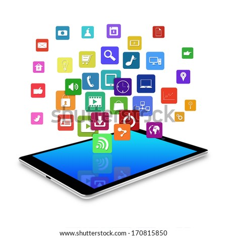 tablet with colorful application icons,cell phone illustration