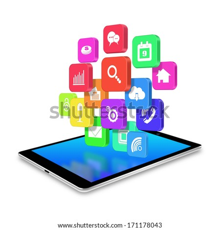tablet with colorful application icons,tablet illustration