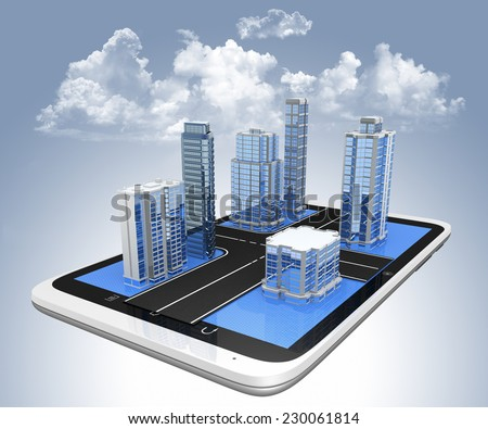 Tablet with 3d city streetmap of office blocks and  skyscrapers on the screen