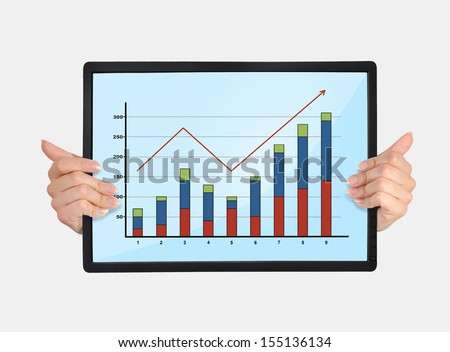 tablet with graph in hands on a white background