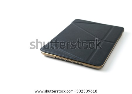 tablet with leather case - stock photo