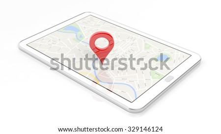 Tablet with map and red pinpoint on screen, isolated on white background.