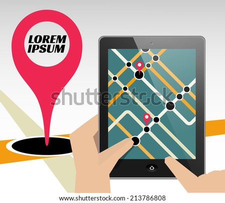 Tablet with map. Can be used as template for presentation or ad. - stock photo