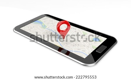 Tablet with map on screen and red pin isolated
