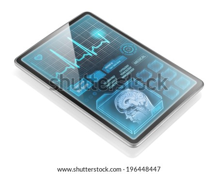 Tablet with medical information isolated on white background