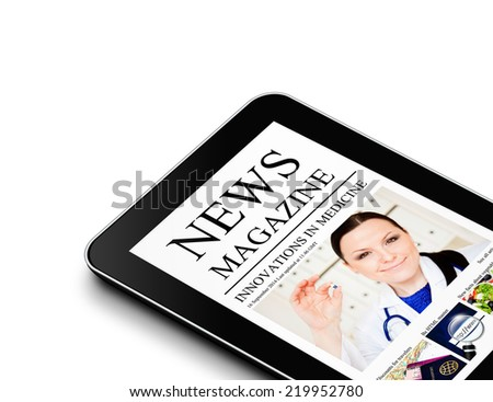 tablet with news magazine page isolated over white background - stock photo
