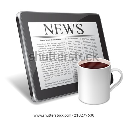 Tablet with newspaper on screen and cup of coffee.