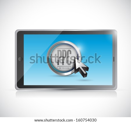 tablet with pay per click button. ppc concept illustration design - stock photo
