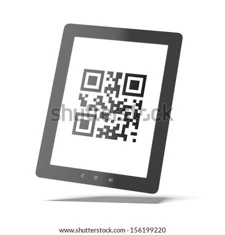 Tablet with qr code - stock photo