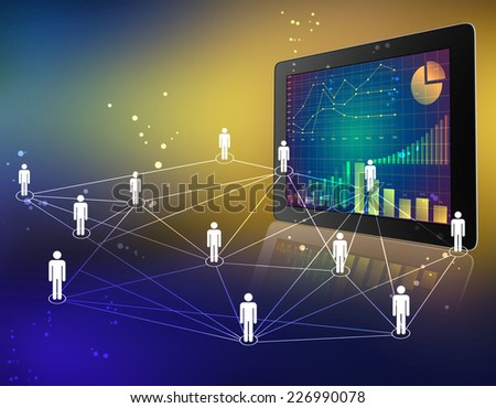 tablet with screen chart and people network connected - stock photo