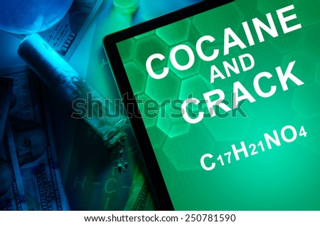 Tablet with the chemical formula of Cocaine and crack. Drugs and Narcotics - stock photo