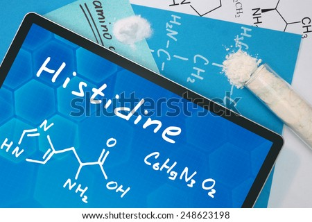 Tablet with the chemical formula of Histidine  - stock photo