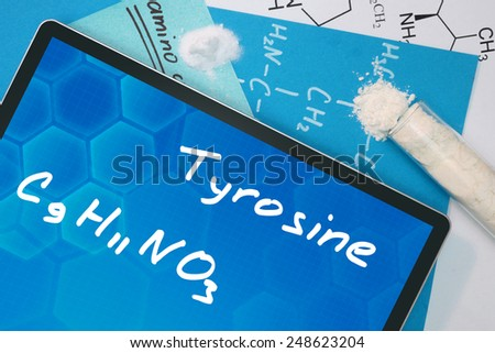 Tablet with the chemical formula of Tyrosine  - stock photo