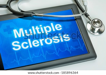 Tablet with the diagnosis multiple sclerosis on the display - stock photo