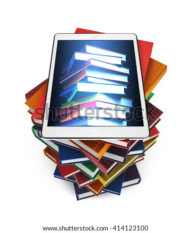 Tablet with the image of books on a stack of books isolated on white background, 3d illustration