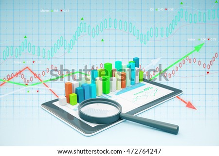 Tablet with voluminous business chart and magnifying glass. Market analysis concept. 3D Rendering