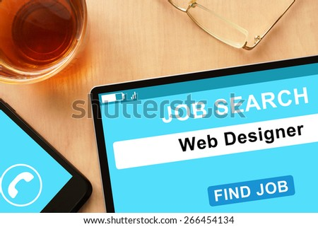 Tablet with Web Designer on  job search site. - stock photo