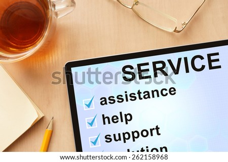 Tablet with words service. Business concept. - stock photo