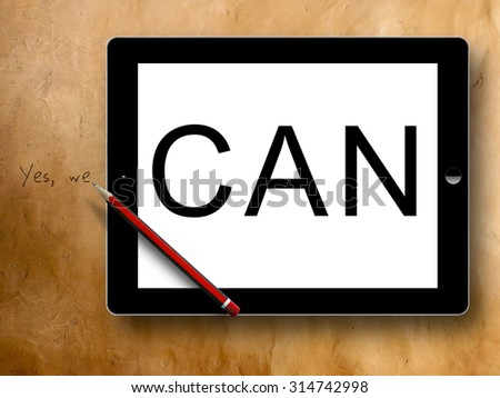 tablet yes we can - stock photo
