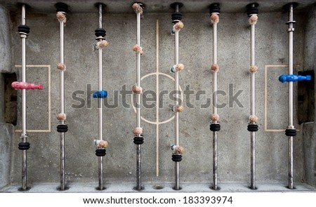 tabletop soccer from above - stock photo