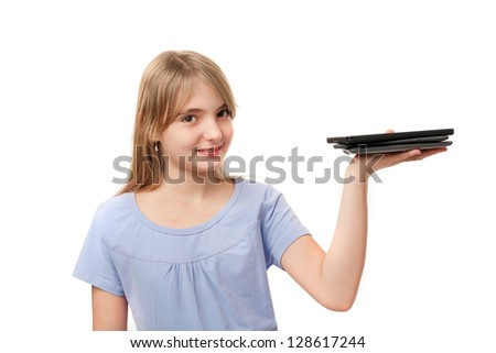 Tablets and ebook readers - Cute girl holding several tablets on her palm. - stock photo