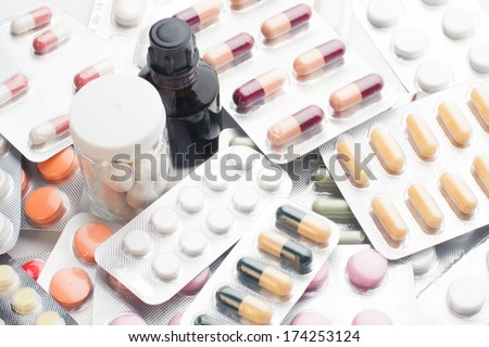 Tablets and pills background