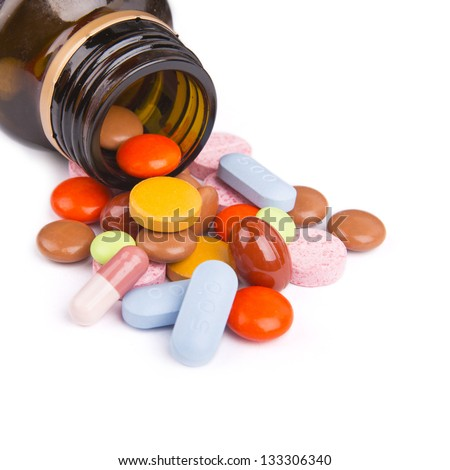 Tablets and pills Isolated on white background - stock photo