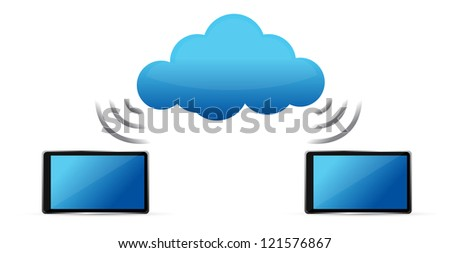 tablets connected to cloud wifi illustration design