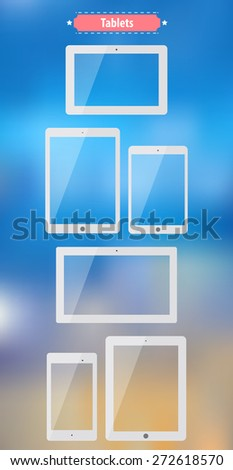 Tablets. Flat images with standard full sizes. Useful template for mock up or other designs. Raster version. - stock photo
