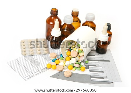 Tablets for treatment of illness - stock photo