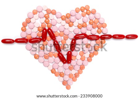 Tablets from heartache, isolated. Healthcare concept. - stock photo