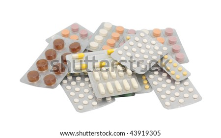 Tablets in packing. Isolated object. - stock photo