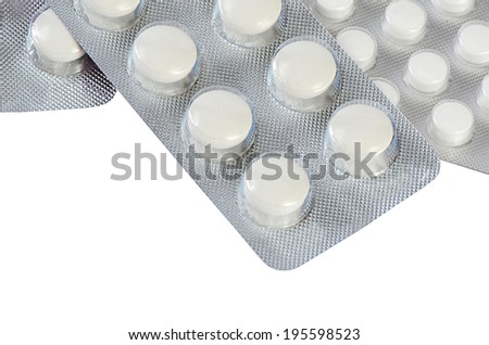 Tablets in packing isolated on white background