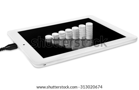 Tablets in the form of a chart on a tablet computer. The Internet addiction. - stock photo