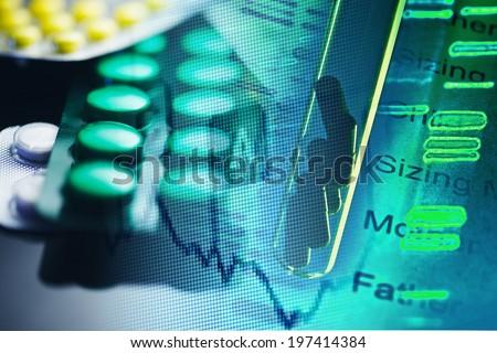 Tablets. Medicine symbol. Small depth of field.  - stock photo