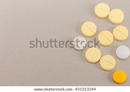 Tablets mix heap drugs pills capsules therapy doctor flu antibiotic pharmacy medicine medical - stock photo