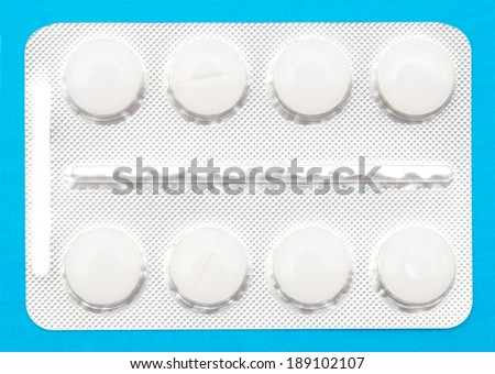 tablets of white colour on a blue background