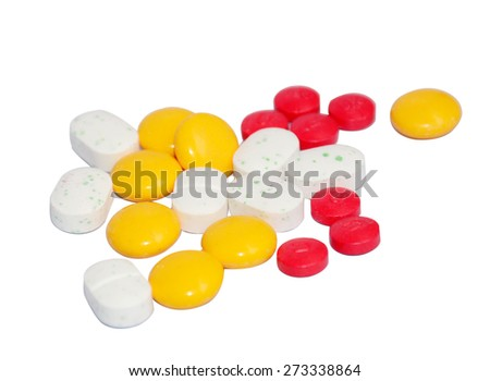 Tablets pills heap color mix therapy antibiotic pharmacy medicine medical - stock photo
